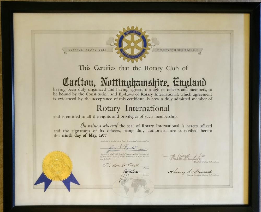 Rotary Club of Carlton Charter 9th May 1977